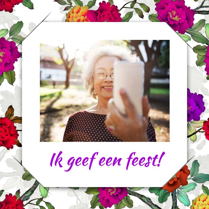 Uitnodigingen - Uitnodiging selfie bloemen 1 RB