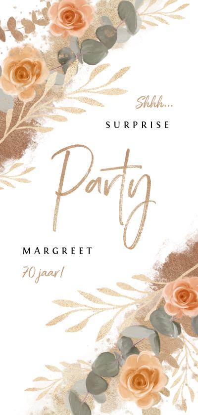 Uitnodigingen - Uitnodiging stijlvol klassiek goud bloemen