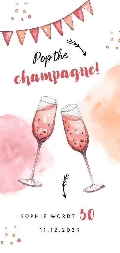 Uitnodigingen - uitnodiging stijlvol met waterverf champagne en slingers