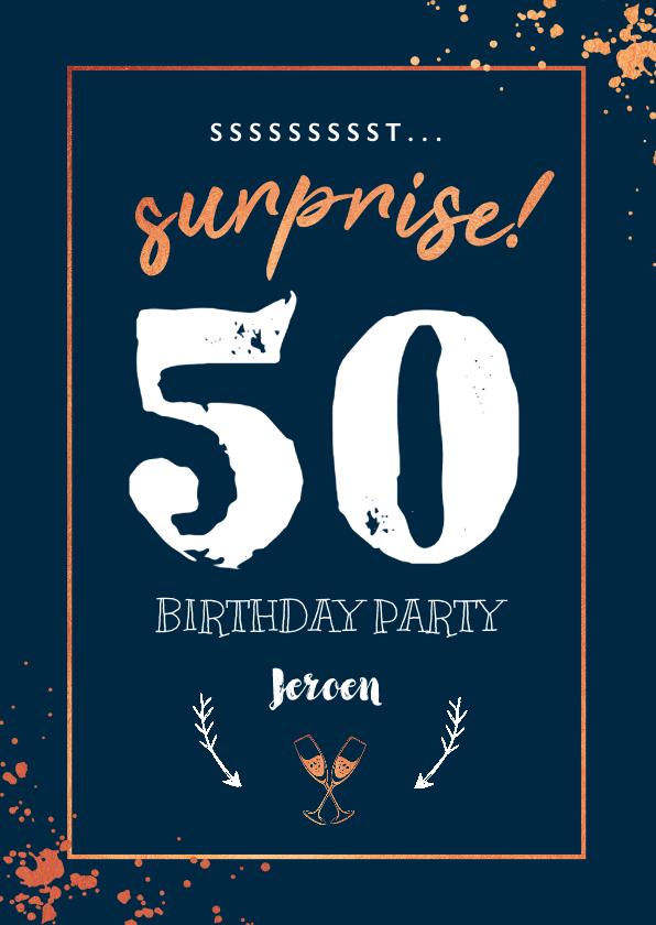 Uitnodigingen - Uitnodiging stijlvol surprise party met spetters