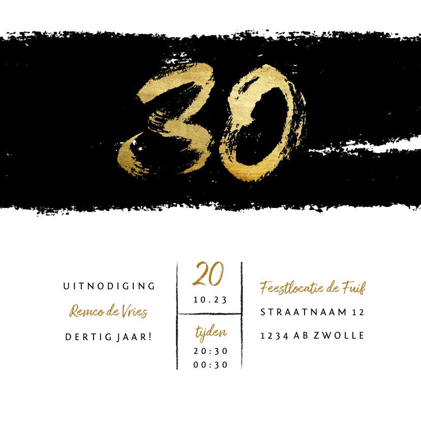 Uitnodigingen - Uitnodiging stoer met zwarte inkt 30