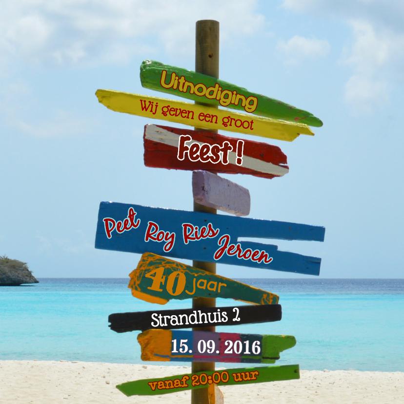 Uitnodigingen - uitnodiging strand paal kleur