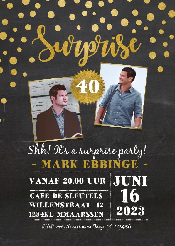 Uitnodigingen - Uitnodiging surprise party goudlook