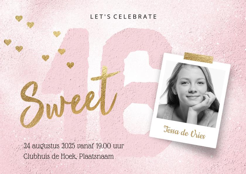 Uitnodigingen - Uitnodiging Sweet Sixteen meisje roze