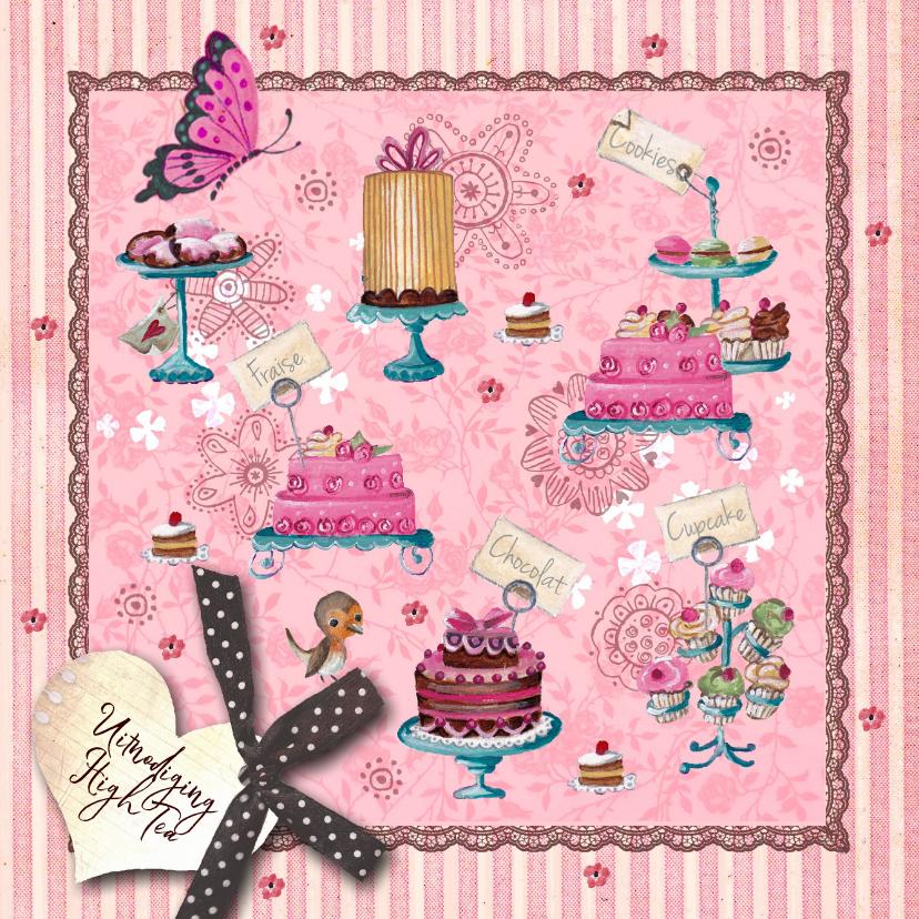 Uitnodigingen - Uitnodiging Tea Party Roze strepen Taart