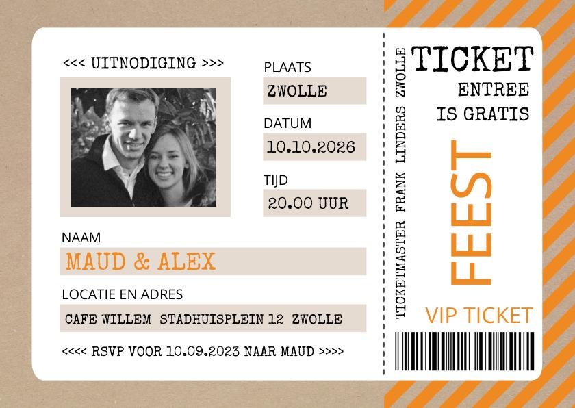 Uitnodigingen - Uitnodiging ticket oranje met kraftlook