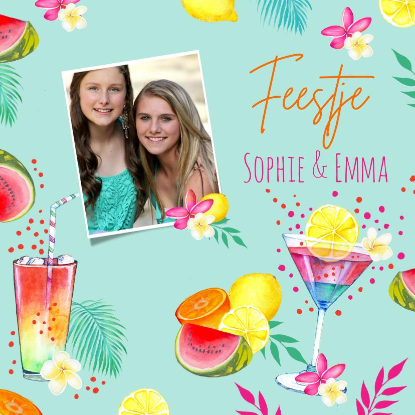 Uitnodigingen - Uitnodiging tropicalfeestje cocktails