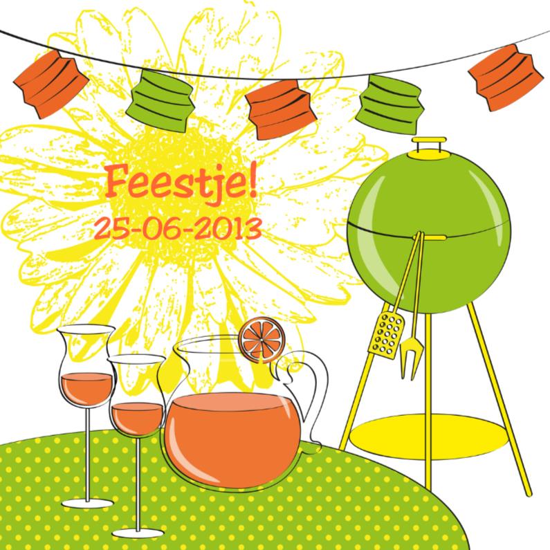 Uitnodigingen - Uitnodiging tuinfeest barbecue vrolijk