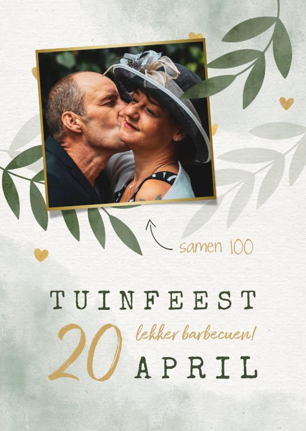 Uitnodigingen - Uitnodiging tuinfeest botanisch met hartjes en foto