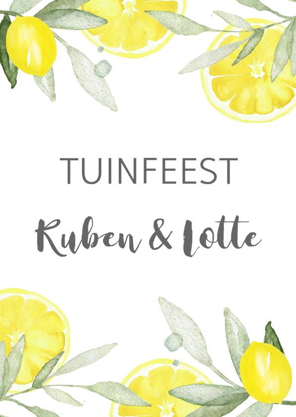 Uitnodigingen - Uitnodiging tuinfeest citroen