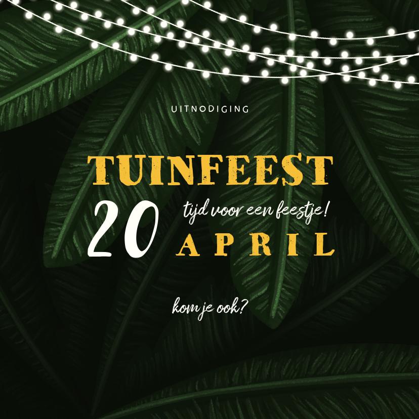 Uitnodigingen - Uitnodiging tuinfeest jungle bladeren met lampjes