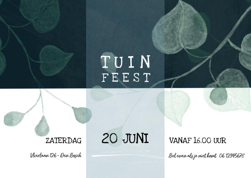 Uitnodigingen - Uitnodiging tuinfeest modern, met takjes en bladeren