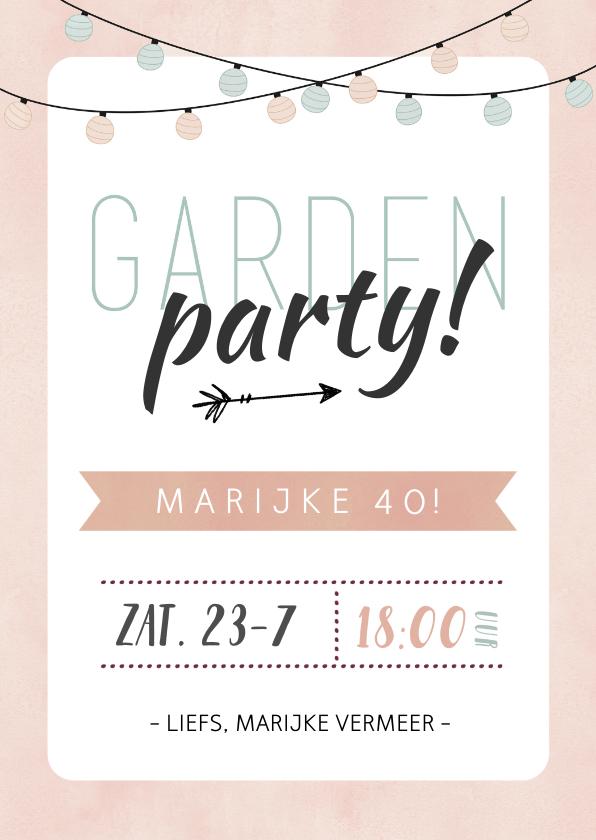 Uitnodigingen - Uitnodiging tuinfeest roze met groene lampjes slinger