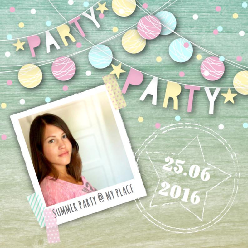 Uitnodigingen - Uitnodiging tuinfeest slingers confetti foto