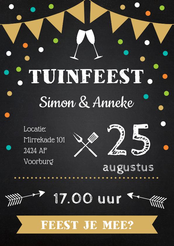 Uitnodigingen - Uitnodiging tuinfeest vlag confetti krijtbord