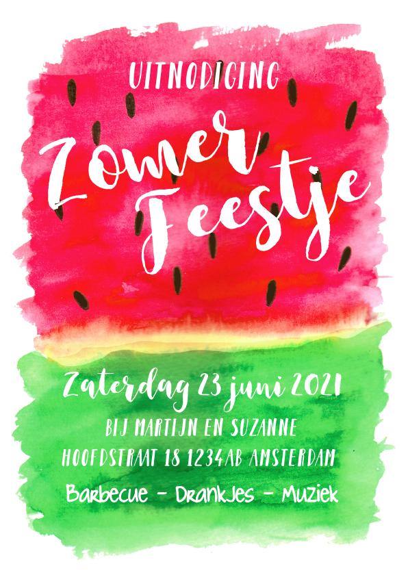 Uitnodigingen - Uitnodiging tuinfeest watermeloen aquarel