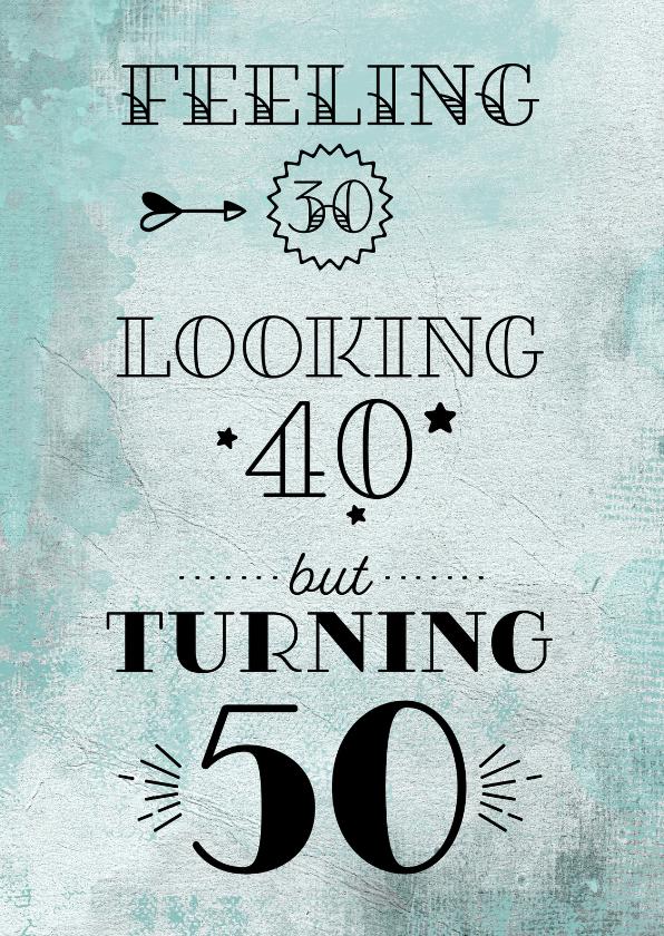 Uitnodigingen - Uitnodiging turning 50 aquarel