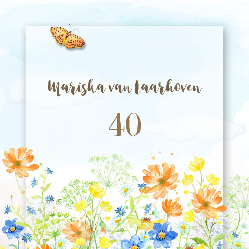 Uitnodigingen - Uitnodiging veldbloemen met vlinder