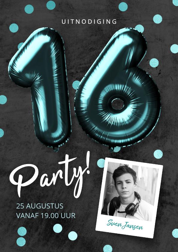 Uitnodigingen - Uitnodiging verjaardag 16 jaar jongen ballonnen