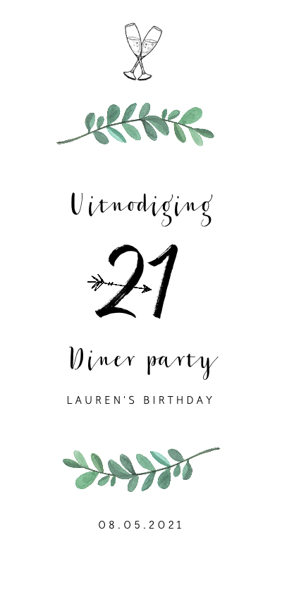 Uitnodigingen Verjaardag.Uitnodiging Verjaardag 21 Diner Stijlvol
