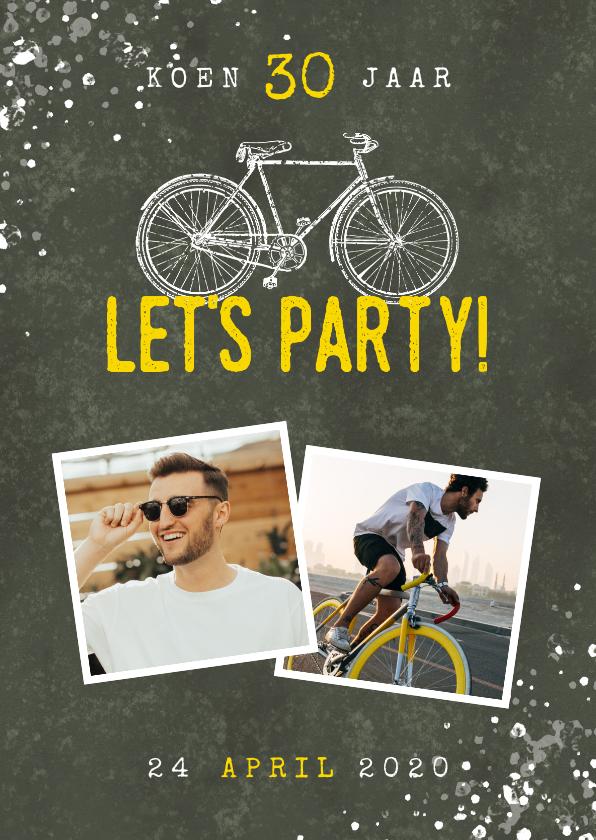 Uitnodigingen - Uitnodiging verjaardag 30 jaar fiets, foto's en spetters