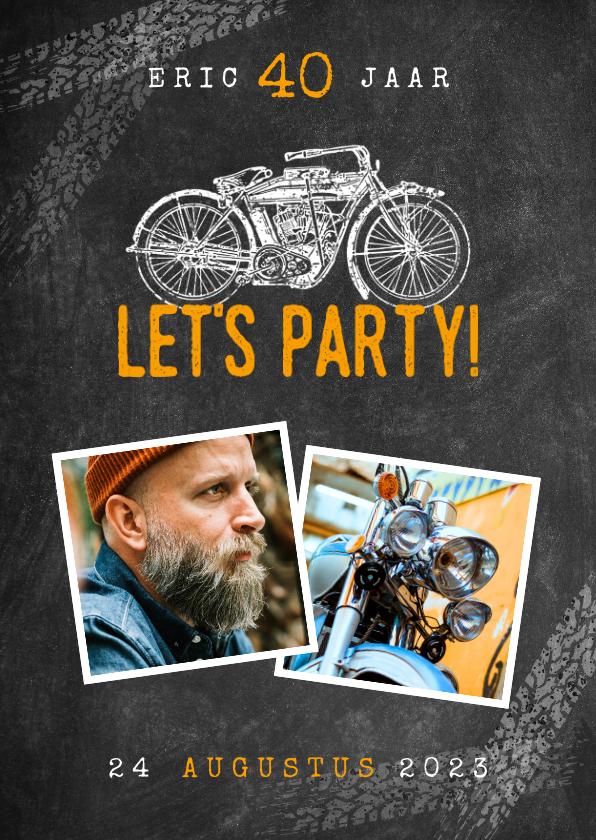 Uitnodigingen - Uitnodiging verjaardag 40 jaar motor, let's party en foto's