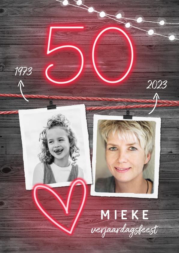 Uitnodigingen - Uitnodiging verjaardag 50 vrouw stoer en hip neon