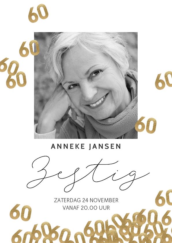 Uitnodigingen - Uitnodiging verjaardag 60 jaar confetti met foto