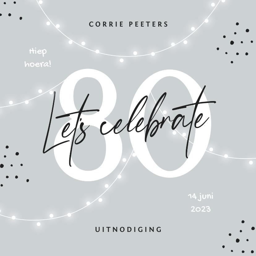 Uitnodigingen - Uitnodiging verjaardag 80 jaar man vrouw slingers confetti