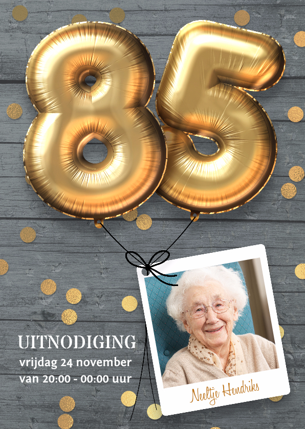 Uitnodigingen - Uitnodiging verjaardag 85 jaar ballon