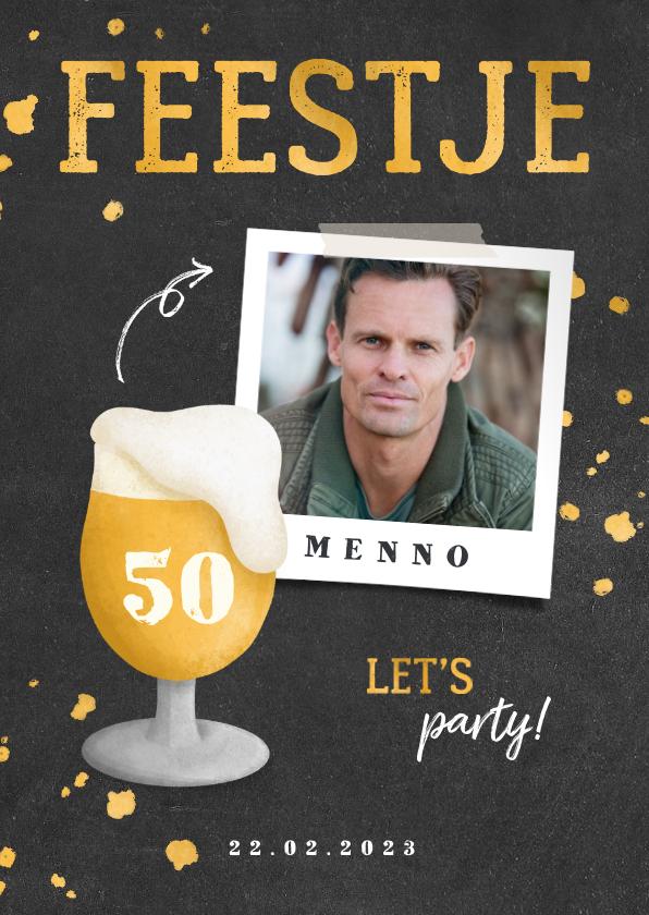 Uitnodigingen - Uitnodiging verjaardag bierglas met foto en leeftijd