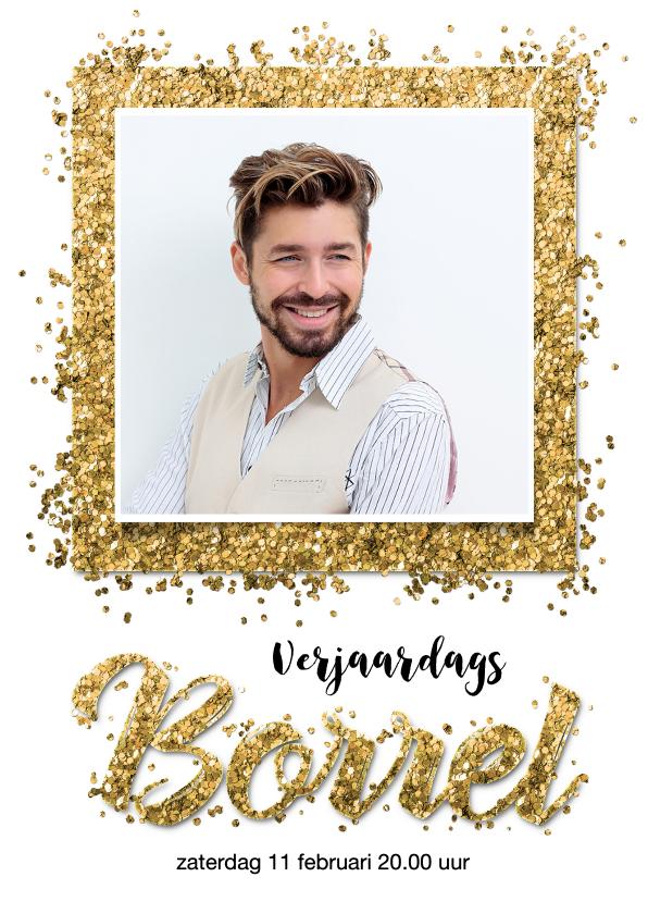 Uitnodigingen - Uitnodiging verjaardag borrel confetti goud met eigen foto