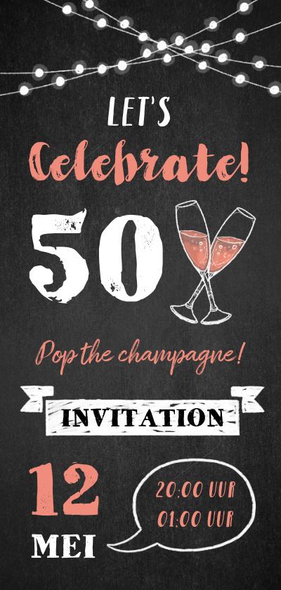 Uitnodigingen - Uitnodiging verjaardag champagne, slingers en krijtbord