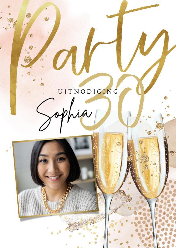 Uitnodigingen - Uitnodiging verjaardag champagne waterverf en goudlook