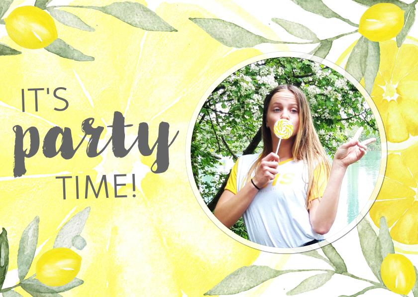 Uitnodigingen - Uitnodiging verjaardag citroen met foto