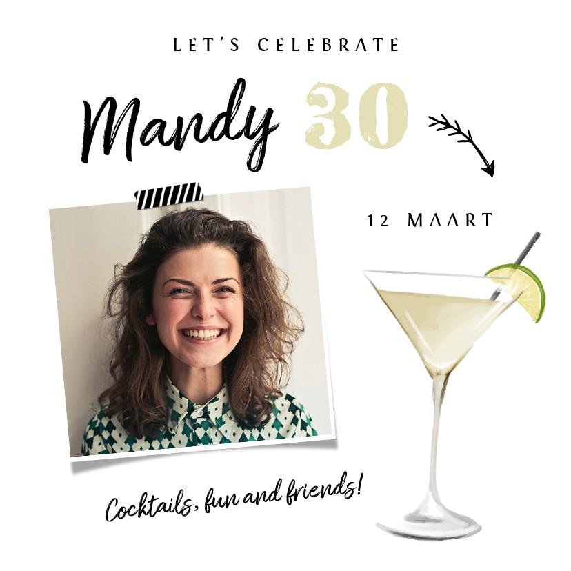Uitnodigingen - Uitnodiging verjaardag cocktailfeestje met foto