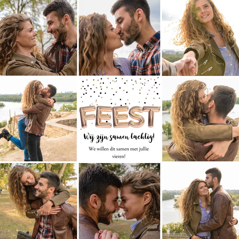 Uitnodigingen - Uitnodiging verjaardag collage 8 foto's