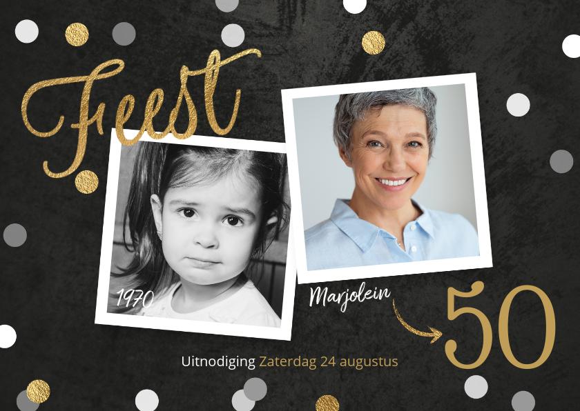 Uitnodigingen - Uitnodiging verjaardag confetti krijtbord foto's