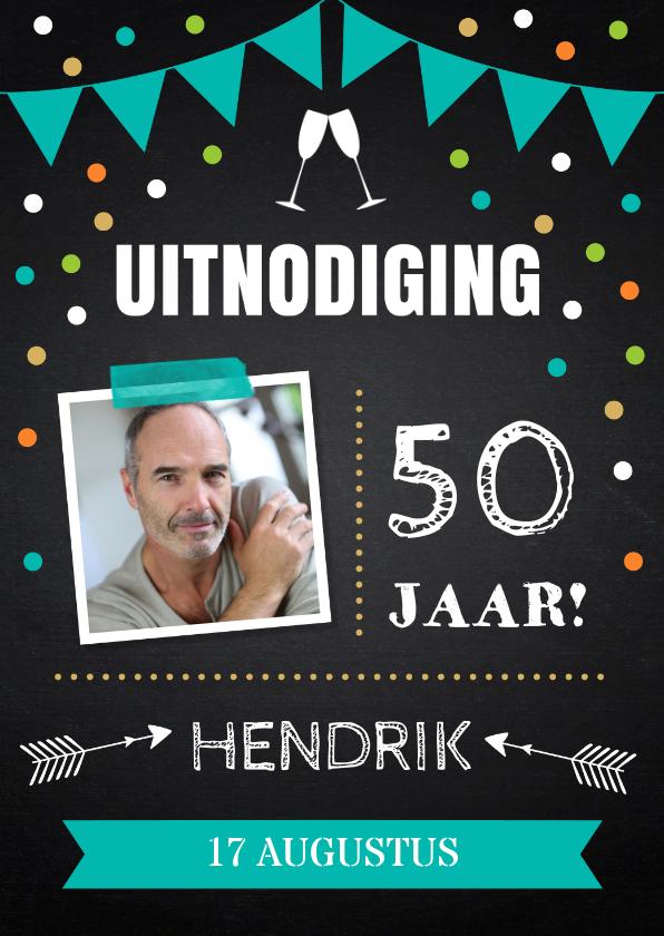 Uitnodigingen - Uitnodiging verjaardag confetti krijtbord foto