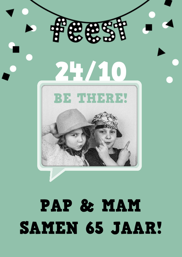 Uitnodigingen - Uitnodiging verjaardag feest samen fotokaart confetti