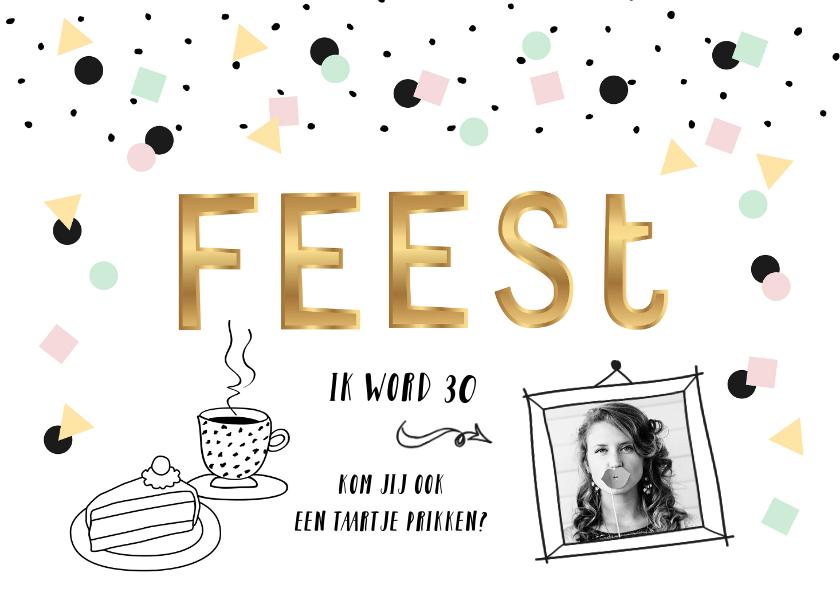 Uitnodigingen - Uitnodiging verjaardag feest vrouw