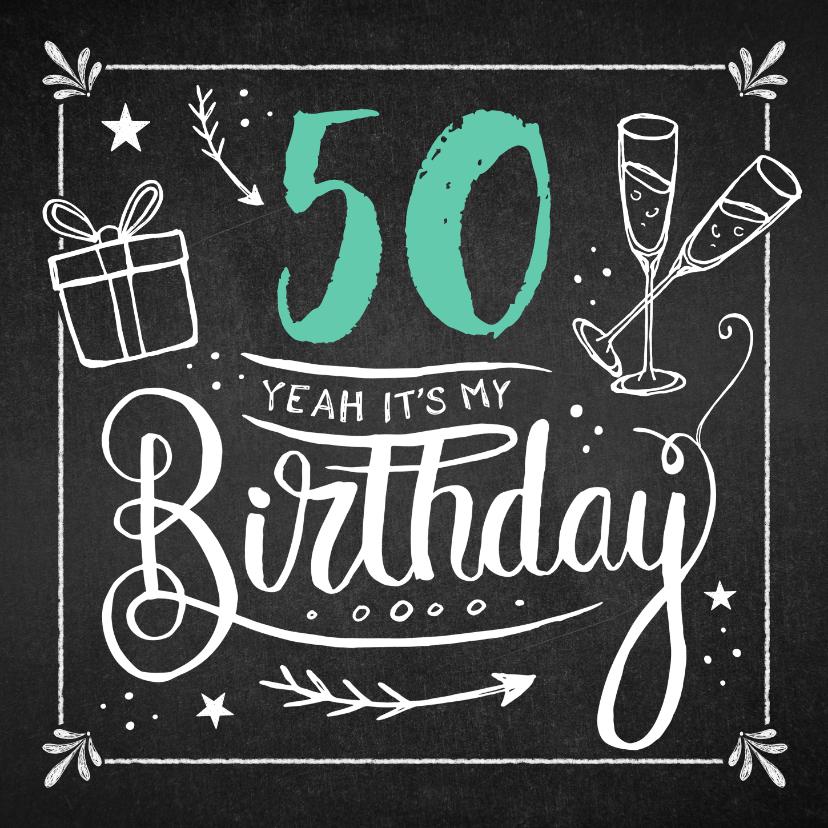 Uitnodigingen - Uitnodiging verjaardag feestelijk in krijtbord stijl