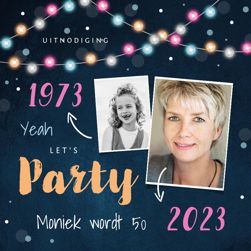 Uitnodigingen - Uitnodiging verjaardag feestelijk lichtslinger confetti foto