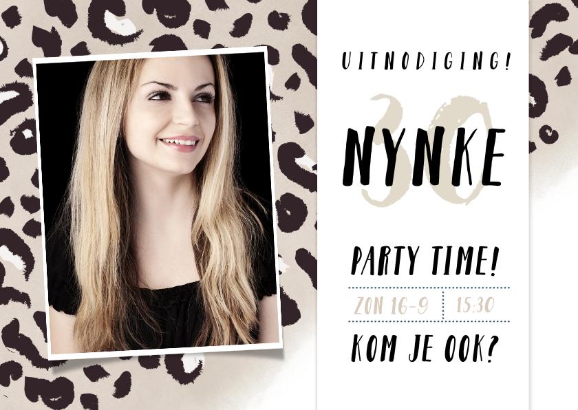 Uitnodigingen - Uitnodiging verjaardag feestje met panterprint en foto