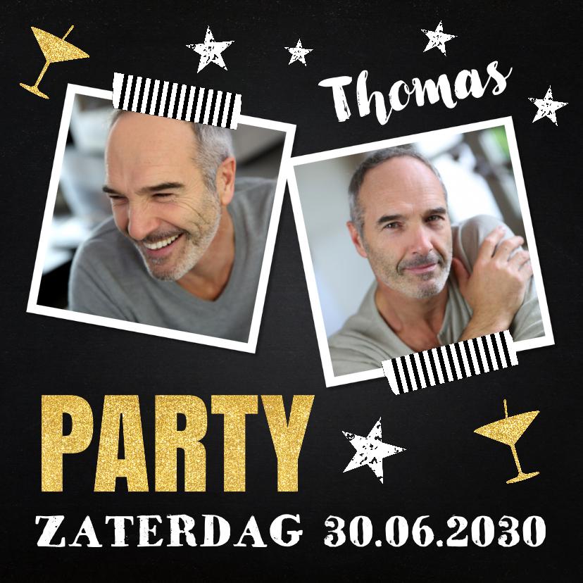 Uitnodigingen - Uitnodiging verjaardag fotocollage krijtbord sterren