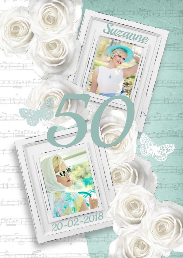 Uitnodigingen - Uitnodiging verjaardag fotolijstjes rozen vrouw