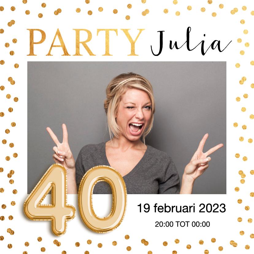 Uitnodigingen - Uitnodiging verjaardag gouden confetti ballon 40 jaar