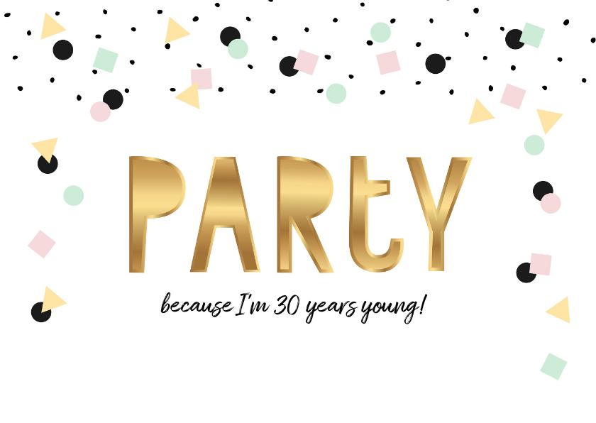 Uitnodigingen - Uitnodiging verjaardag hip feestelijk eenvoudig
