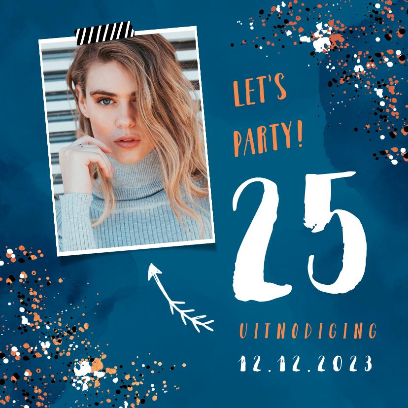 Uitnodigingen - Uitnodiging verjaardag hip met spetters en eigen foto