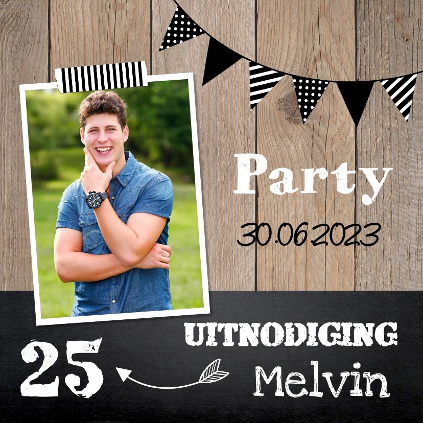 Uitnodigingen - Uitnodiging verjaardag hout slinger